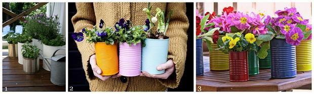Горщики для квітів з банок