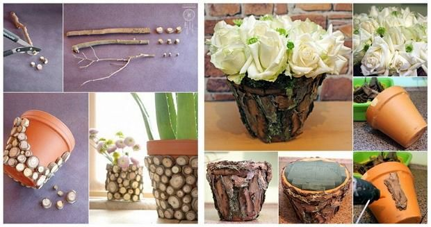 Квіткові горщики з кори