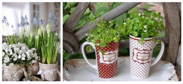 Горщики для квітів зі старих кухлів