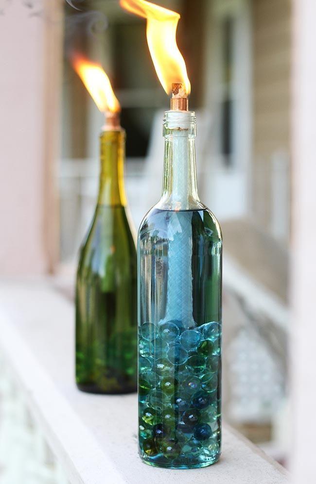 Свічки з скляних пляшок