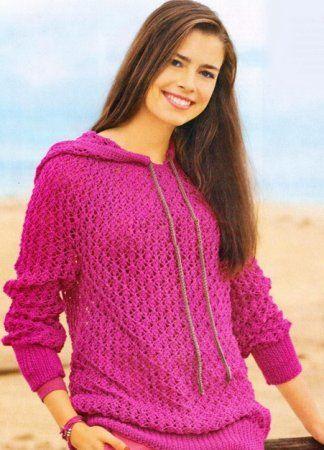 Рожевий пуловер з капюшоном