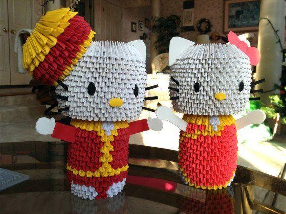 Кішка (модульне орігамі) на прикладі кота лізон, кота рижію і кішечки китти: покрокові інструкції і відеоматеріали