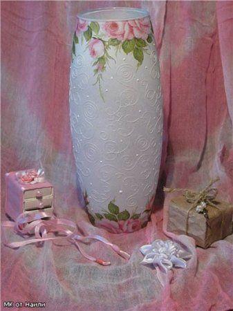 Майстер-клас з декупажу вази - скляній, підлоги - серветками та іншими матеріалами