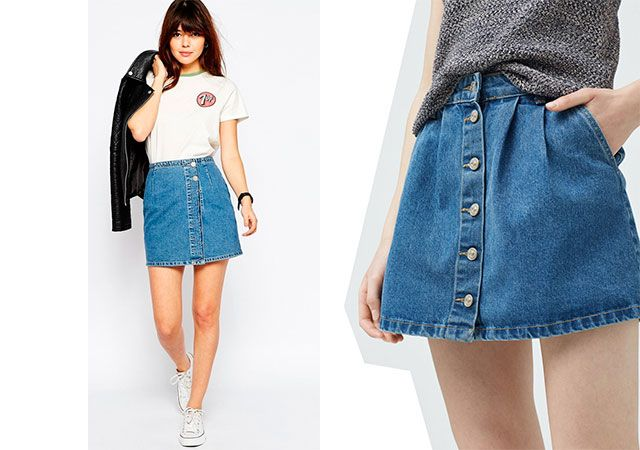 Модні джинсові спідниці 2016 фото
