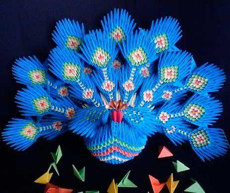 Модульне орігамі - павич (звичайний і синій): покрокова інструкція та відеоматеріали