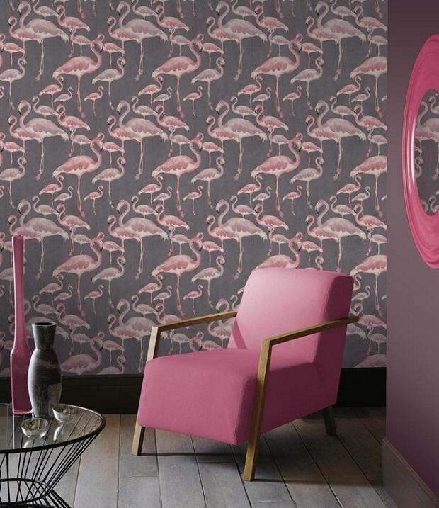 Шпалери з зображенням рожевих фламінго