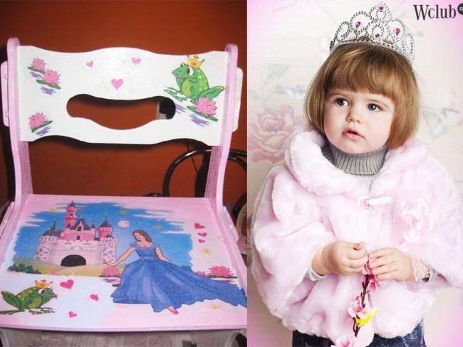 Стільчик для маленької принцеси в техніці декупаж (фото)